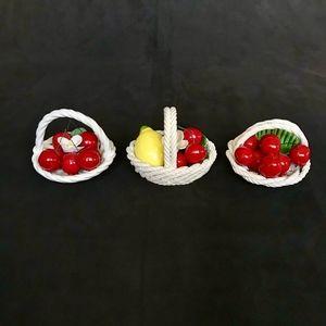 Other - 3 Italian Majolica Woven Ceramic Cherry Baskets
